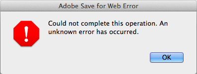 Adobe Save for Web Error