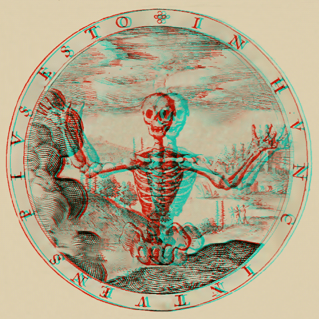 """Depth of A Field, with Skeleton (Static)"" 3D Anaglyph by @aforgrave based on Geo Wither Illustration 8 (1635)"