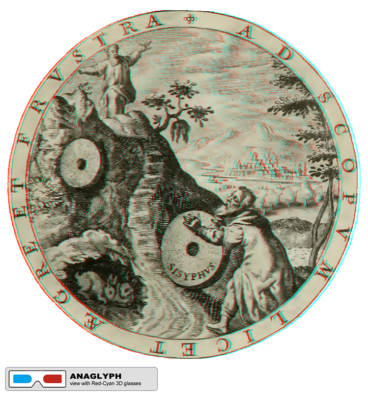 """Sisyphus Anaglyph"" by @aforgrave, based on illustration 11, Emblemes, Illust. by Geo. Wither (1635)"