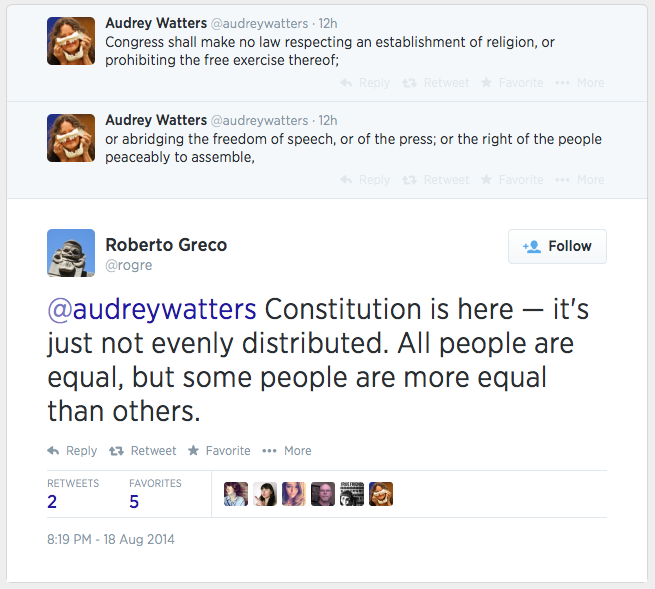 Twitter conversation between @rogre and @audreywatters