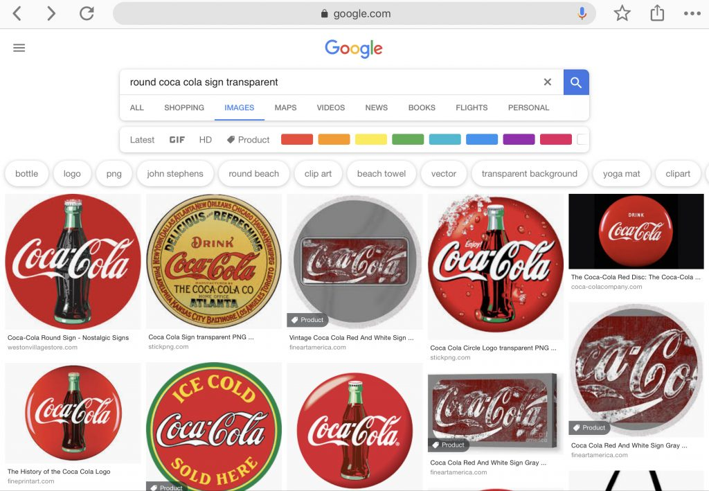 """Google search results """"round Coca-Cola sign transparent"""""""